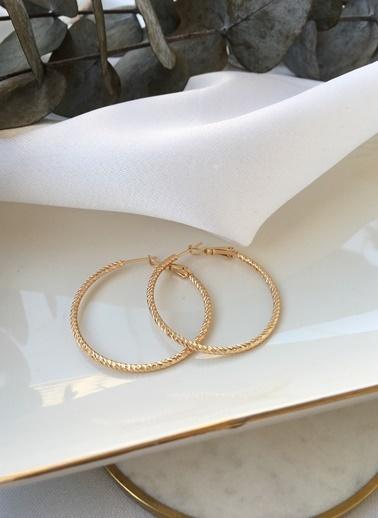 My Joyas Design My Joyas Design İnce Parıltılı Burgu  Kadın Halka Küpe Altın